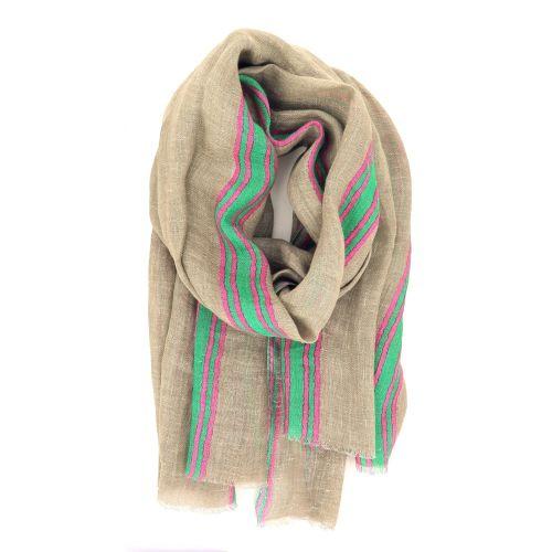 Lovat & green accessoires sjaals zandbeige 214150