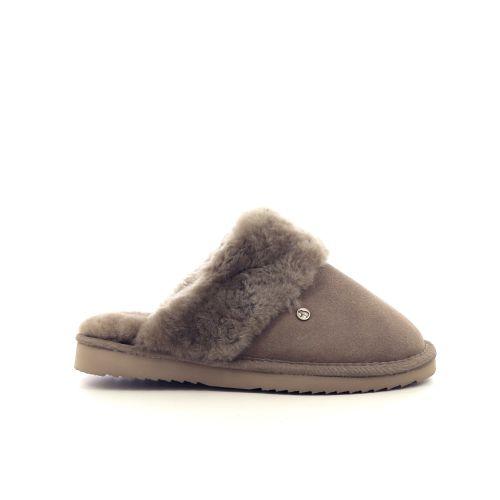 Warmbat damesschoenen pantoffel taupe 217787